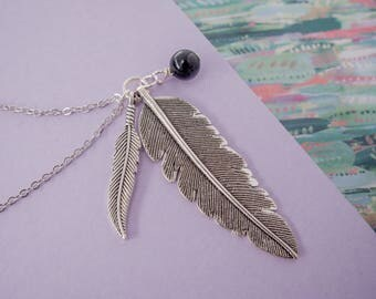 Blue Feather Necklace, Feather Charms, Feather Necklace, Long Feather Pendant, Blue Goldstone Feather, Silver Gift, Feather Jewellery