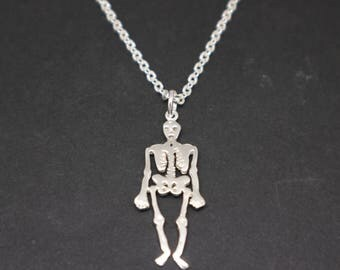 Anatomy Human Skeleton Bones Skull Necklace - Sterling Silver Skull Skeleton Jewelry, Science Biology, orthopedic surgeon physician gift