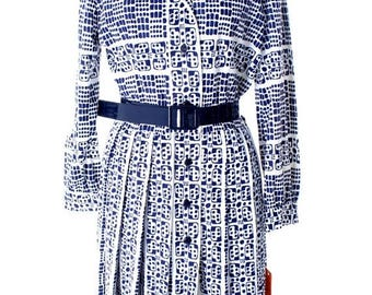Sale 20% Off 1970s Vintage David Crystal Knit Shirt Dress Blue & White Dominoes Print NWT L