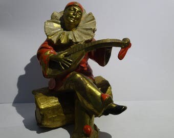 Vintage ART DECO Pierrot Clown playing the Guitar on LOG Brass Bronze
