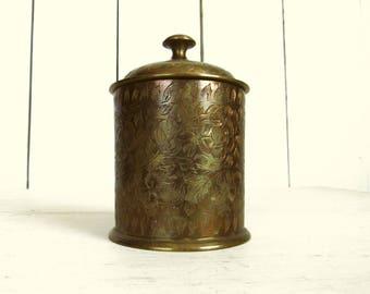 Brass Storage Jar - Vintage India Lidded Canister - Etched Floral Pattern