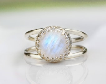 SALE - Rainbow moonstone ring,silver ring,moonstone jewelry,October birthstone,silver stone ring,bridal ring,promise ring