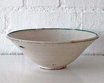 Vintage Unique stunning off white color Terracotta Pottery Bowl - Antique Glazed Pottery Bowl - Dough bowl - cassoulet - wash basin