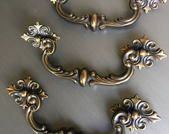 "Antiqued Brass Drawer Handle Bail Swing Handle Metal 5.75"" Screw Holes - #D2252"