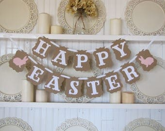 HAPPY EASTER Banner, Easter Decoration, Happy Easter Sign, Easter, Spring Decor, Easter Bunny