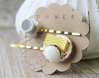 Tea Party Favors for Women - Tea Lover Gift - Coffee Lovers Gift - Decorative Hair Pins - Teacup Jewelry - Coffee Cup Jewelry - Teacup Clips