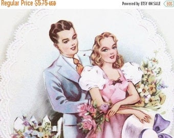 40% OFF NOW Romantic Sweetheart Birthday Card from the 1930s, Unused Vintage Birthday Card, Art Deco Era Card, Suitable for Framing, Keepsak