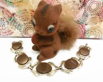 Brown Thermoset Link Bracelet, Goldtone Metal & Brown Thermoset Bracelet, Oval Brown Plastic Cabochons 7-Inch Bracelet, Mid Century Bracelet