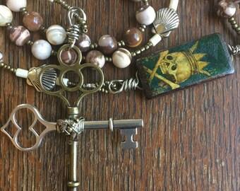 Catholic Rosary, Zebra Stone, Skeleton Key Cross, Our Lady of Guadalupe, Cockleshell
