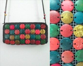 Boho Crossbody Beaded Handbag // Multicolored Colorful Polished Stones