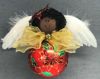 Pointesetta Angel Ornament - Black