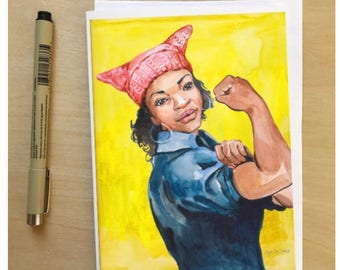 Rosie the Riveter, The New Yorker Magazine Women's March Cover, 5x7 card, Ready to Ship