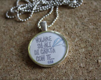 Resin Pendant Necklace,Cameo Necklace,pendant quote,quotes,lyrics,music pendant,music,song lyrics,lyric pendant,gift for her