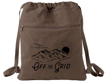 Backpack - Off the Grid - Screen Printed Cotton Canvas Draw String Backpack