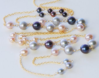 Long Multi Pearl Necklace by Agusha. Peacock, Pink, Gray Pearl Gold Filled Necklace. Pearl Necklace