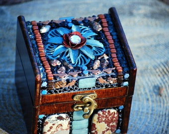 Mosaic jewelry box with blue flower and bronze birds. Mosaic decor and unique gifts