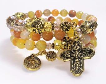 Rosary Bracelet Wrap New Agate Mix Yellow & Orange Semi-precious Catholic Jewelry Bridesmaid Gift Mother's Gift Confirmation 5Way Cross 532