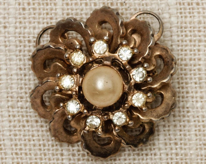 Flower Brooch Vintage Gold Rhinestone Pearl Pendant Broach Vtg Pin 7T
