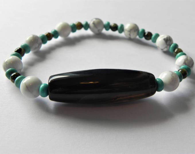Mens stretch gemstone bracelet with blue & white magnesite, tourmaline and black agate.
