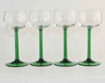 Vintage Green Stem Coupe Footed Champagne Glasses Set of 4 Marked France