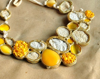 Statement , fabric, textured, contemporary, ooak one of a kind, large , structural, elegant, shabby, glam necklace Canola fields