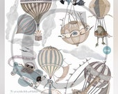 Choice of 1 Ex-Large Animal/neutral palette Hot Air Balloon, nursery, toddler, baby, hand painted look, Repositionable fabric, Wall decals,