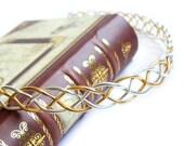 Custom Order - Celtic Braid Circlet - Gold-tone Aluminum Wire Headpiece - Medieval Renaissance Elven Crown