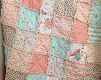 Crib Rag Quilt Baby Girl Crib Bedding Shabby Chic Nursery Gold Mint Peach Nursery