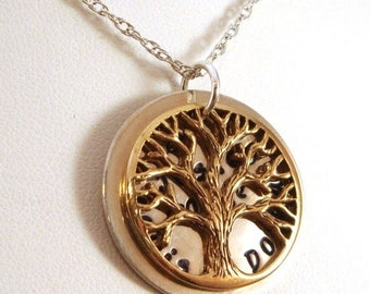 SALE CIJ2017 Tree of Life Necklace / Family Tree Necklace / Hidden Message Necklace / Secret Message Necklace / Bronze and Sterling Silver N