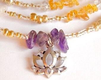 Lotus Waistbeads, Seven Chakra Balancing  Sacred Lotus Waist Beads, Belly Beads, Belly Chain