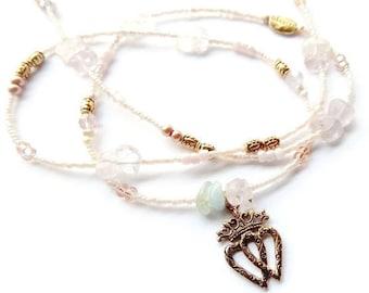 For My King 'High Vibration' Waist Beads, Pastel Morganite Waist Beads, Lovers Waist Chain, Gemstone Belly Chain, African Waist Beads