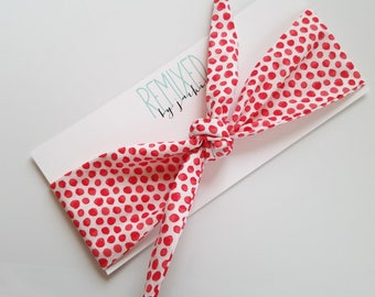 Vintage Inspired Head Scarf White with Coral Polka Dots - Headband