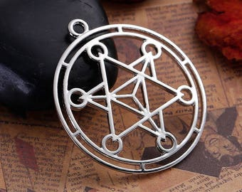 3 Merkaba Meditation Pendants in Silver Tone - C2583