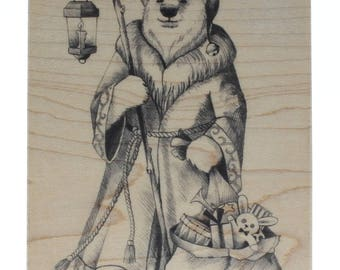 Inkadinkado St Nick Polar Bear Santa with Toy Sack Wooden Rubber Stamp