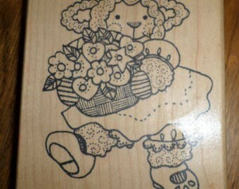 Imagine That Lamb With A Bouquette Of Flowers L593  Flowers Wooden Rubber Stamp