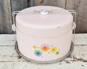 Vintage Pink Dessert Carrier Cake Pies Cookies Double Decker Two Compartment Mid Century Starbust Flowers 1950's