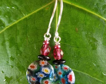 Milifiori glass earrings