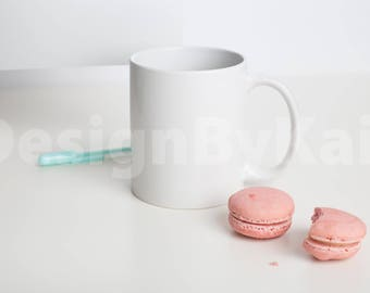 Styled Stock Photo, Desk Mock up, Coffee Mug Mock Up, Pink, Turquoise, Macaroons, #1037