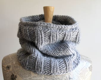 Hand knit chunky cowl / light winter gray / urban rustic extra thick neck warmer / winter neck cozy / minimalist style unisex winter cowl