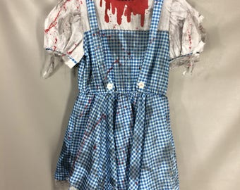 Zombie Dorothy Costume. DIRTY DOROTHY DRESS. Distressed Grungey Bloody Dress. The Wizard Of Oz Costume. Sexy Dorothy adult Costume Size L 12