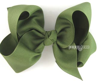 """Extra Large Hair Bow, 6"""" Olive Green Hair Bow, Girls Hair Bows, 6 inch hair bows, big bow, giant bow, extra large bow xl, Moss Green Bow"""