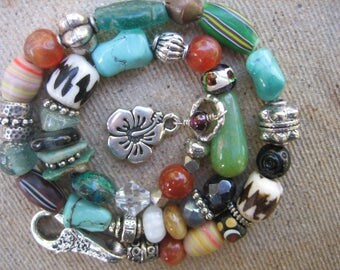 15%off AFRICAN BEADS TRIBAL bracelet bold boho bracelet