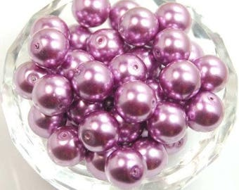 100 * 4mm Purple Round Glass Pearl Beads, Purple Pearls, Violet Pearls, Glass Pearls, Glass Beads, Purple Beads, Violet Beads, Smooth Beads