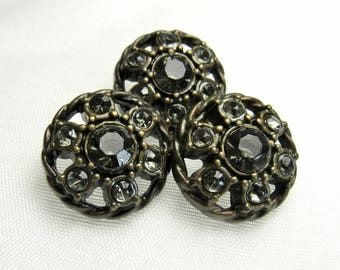 "Everyday Elegance: 7/8"" (22mm) Antiqued Bronze Faux Metal & Acrylic Rhinestone Buttons - Set of 3 Matching Buttons"