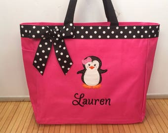 Personalized Baby Girl Penguin Diaper Bag Tote