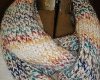 Scarf, Mulit-colored,  Long Cowl Neck Scarf, Winter scarf, Wool blend scarf, Hand knit scarf, Holiday gift