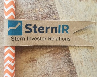 Corporate Straw Flags, Company Branded Straw Flags, Branded Company Straw Flags, Logo Straw Flags. Set of 50.