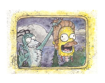 Simpsons Horror Terror at 5 1/2 Feet 5x7 Signed Art Print