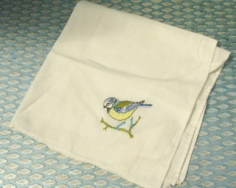 Cute 1950s White Cotton Handkerchief with Embroidered Blue Tit