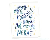 Enough Nerve Watercolor, Harry Potter Card, Harry Potter Quote, Ginny Weasley Quote, Ginny Weasley, Harry Potter Fan, Literary Gift, Bookish